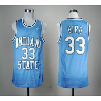 Sycamores #33 Larry Bird Blue Hardwood Legends Basketball Stitched NCAA Jersey