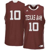 Adidas Texas A&M Aggies #10 Jake Hubenak Maroon Basketball Jersey