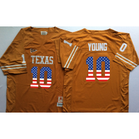 Texas Longhorns #10 Vince Young Orange USA Flag College Jersey