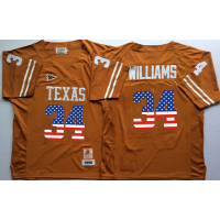 Texas Longhorns #34 Ricky Williams Orange USA Flag College Jersey