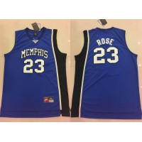 Tigers #23 Derrick Rose Blue Basketball Stitched NCAA Jersey
