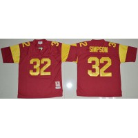 Trojans #32 O.J. Simpson Red Stitched NCAA Jersey