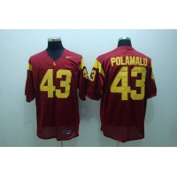 Trojans #43 Troy Polamalu Red Stitched NCAA Jersey