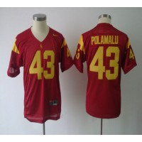 Trojans #43 Troy Polamalu Red Stitched Youth NCAA Jersey