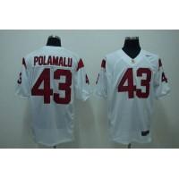 Trojans #43 Troy Polamalu White Stitched NCAA Jersey