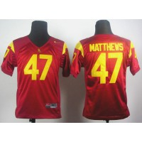 Trojans #47 Clay Matthews Red Stitched Youth NCAA Jersey