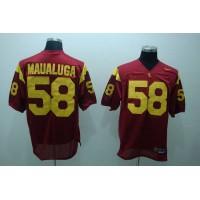 Trojans #58 Rey Maualuga Red Stitched NCAA Jersey