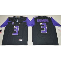 UConn Huskies #3 Jake Browning Black Limited Stitched NCAA Jersey