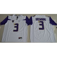UConn Huskies #3 Jake Browning White Limited Stitched NCAA Jersey