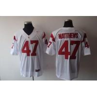 USC Trojans #47 Clay Matthews White Stitched NCAA Jersey