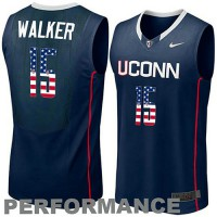 Uconn Huskies #15 Kemba Walker Navy USA Flag College Basketball Jersey