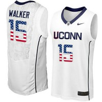 Uconn Huskies #15 Kemba Walker White USA Flag College Basketball Jersey