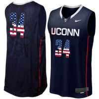 Uconn Huskies #34 Ray Allen Navy USA Flag College Basketball Jersey