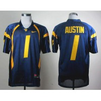 Virginia Mountaineers #1 Tavon Austin Navy Blue Stitched NCAA Jersey