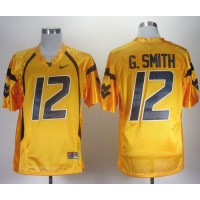 Virginia Mountaineers #12 Geno Smith Gold Stitched NCAA Jersey