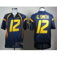 Virginia Mountaineers #12 Geno Smith Navy Blue Stitched NCAA Jersey