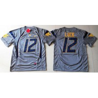 Virginia Mountaineers #12 Oliver Luck Navy Blue Stitched NCAA Jersey
