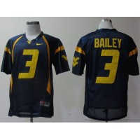 Virginia Mountaineers #3 Stedman Bailey Navy Blue Stitched NCAA Jersey