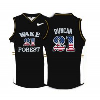 Wake Forest Demon Deacons #21 Tim Duncan Black USA Flag College Basketball Jersey