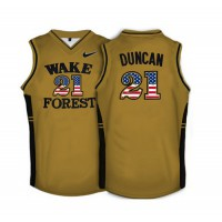 Wake Forest Demon Deacons #21 Tim Duncan Gold USA Flag College Basketball Jersey