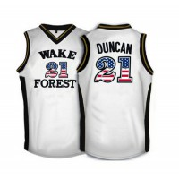 Wake Forest Demon Deacons #21 Tim Duncan White USA Flag College Basketball Jersey