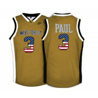 Wake Forest Demon Deacons #3 Chris Paul Gold USA Flag College Basketball Jersey