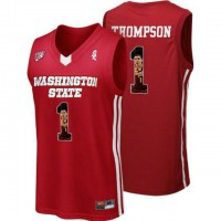 Washington State Cougars #1 Klay Thompson Red With Portrait Print College Basketball Jersey