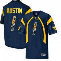 West Virginia Mountaineers #1 Tavon Austin Navy With Portrait Print College Football Jersey