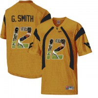 West Virginia Mountaineers #12 Geno Smith Gold With Portrait Print College Football Jersey