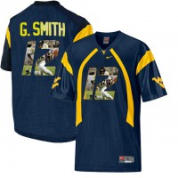 West Virginia Mountaineers #12 Geno Smith Navy With Portrait Print College Football Jersey