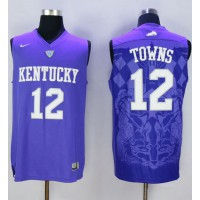 Wildcats #12 Karl-Anthony Towns Blue Basketball Stitched NCAA Jersey