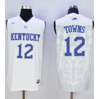 Wildcats #12 Karl-Anthony Towns White Basketball Stitched NCAA Jersey