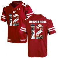 Wisconsin Badgers #12 Alex Hornibrook Red With Portrait Print College Football Jersey