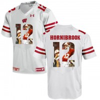 Wisconsin Badgers #12 Alex Hornibrook White With Portrait Print College Football Jersey