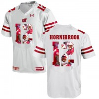 Wisconsin Badgers #12 Alex Hornibrook White With Portrait Print College Football Jersey2