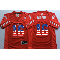 Wisconsin Badgers #16 Russell Wilson Red USA Flag College Jersey