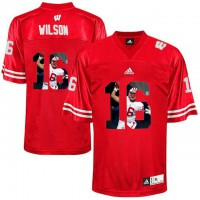 Wisconsin Badgers #16 Russell Wilson Red With Portrait Print College Football Jersey2