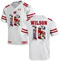 Wisconsin Badgers #16 Russell Wilson White With Portrait Print College Football Jersey