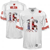 Wisconsin Badgers #16 Russell Wilson White With Portrait Print College Football Jersey2