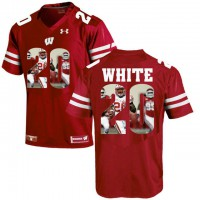Wisconsin Badgers #20 James White Red With Portrait Print College Football Jersey