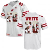 Wisconsin Badgers #20 James White White With Portrait Print College Football Jersey