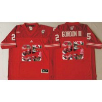 Wisconsin Badgers #25 Melvin Gordon III Red Player Fashion Stitched NCAA Jersey