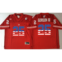 Wisconsin Badgers #25 Melvin Gordon III Red USA Flag College Jersey