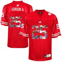 Wisconsin Badgers #25 Melvin Gordon III Red With Portrait Print College Football Jersey