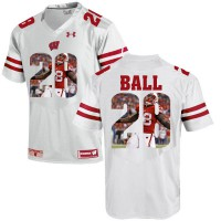 Wisconsin Badgers #28 Montee Ball White With Portrait Print College Football Jersey