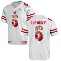 Wisconsin Badgers #6 Corey Clement White With Portrait Print College Football Jersey