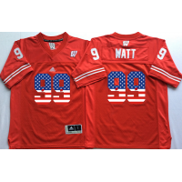 Wisconsin Badgers #99 J.J. Watt Red USA Flag College Jersey