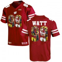 Wisconsin Badgers #99 J.J. Watt Red With Portrait Print College Football Jersey