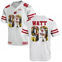 Wisconsin Badgers #99 J.J. Watt White With Portrait Print College Football Jersey-1