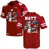 Wisconsin Badgers #99 T.J. Watt Red With Portrait Print College Football Jersey
